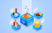 Isometric commercial financial data visualization