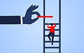 Climb up, hand help businessman build ladder