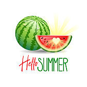 Hello Summer. Summer Holidays concept with sun and watermelon. Vector illustration.