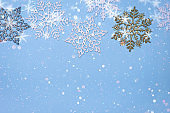 christmas decor background - snowflakes on blue background
