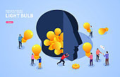 Business creative concept, business people holding light bulbs to fill the brain