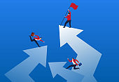 Competitive traders take the lead in inserting the flag on the highest arrow
