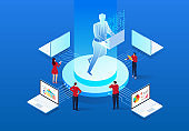 Isometric artificial intelligence and online business learning and data analysis