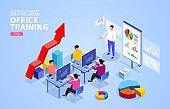 Isometric office business finance training and data analysis