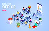 Office work crowd and office scene