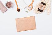 Homemade beauty treatments flat lay composition