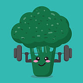 cartoon broccoli health strong background