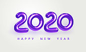 Holiday vector illustration of shiny violet metallic numbers 2020