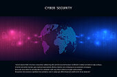 Cyber security concept on dark background, abstract digital internet. Abstract background technology.Vector illustration