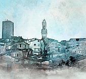 Siena skyline photo manipulation