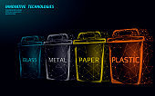 Low poly waste separation 3D concept. Garbage recycle plastic aluminium paper glass container bin. Polygonal ecological save planet campaign. Urban trash movement banner vector illustration