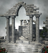 Old temple ruins in a foggy scenery