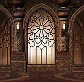 Mysterious doorway inside the old elegant building