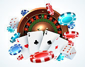 Playing cards poker chips. Falling dice online casino gambling realistic 3D gaming concept with vector lucky roulette