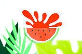 Concept fruit juice, element reklama. Splash from watermelon