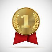 Gold medal with red ribbon. First place golden design bage. Realistic vector illustration symbol places numbers one like award sports hero
