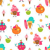 Summer cute pattern. Trendy seamless background with fruits and desserts, doodle characters with funny faces. Vector backdrop