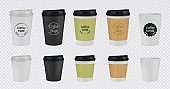 Realistic paper coffee cup. Disposable plastic and paper coffee mugs mockup. 3D vector illustration colorful isolated templates tea cups with lid