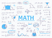 Doodle math. Algebra and geometry school equation and graphs, hand drawn physics science formulas. Vector education sketch