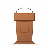 Realistic debate stage. 3D conference speech tribune, business presentation stage stand with microphones. Vector isolated illustration