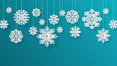 Paper cut snowflakes. Christmas isolated decoration elements, winter snow abstract background. Vector 3D paper snowflakes