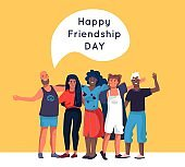 Friendship. Happy friends standing together and hugging, cartoon diverse people group. Vector family relationship greeting card