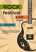 Guitar poster. Music jazz rock concert or party flyer, festival show or event retro grunge card. Vector placard with electric guitar