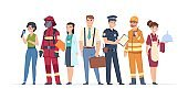 1905.m30.i010.n008.S.c12.595911614 Characters professions. Factory workers business people engineer and doctor community concept. Vector career professionals