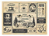 Vintage newspaper advertising. Newsprint labels with retro fonts, frames and old illustrations. Vector realistic press advertising
