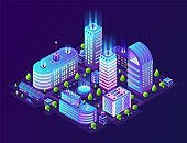 Isometric smart city. Futuristic 3D buildings in neon town, modern megapolis district in gradient colors. Vector technology background