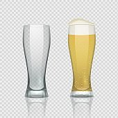 Beer glass cups. Empty transparent mug and full mug, realistic 3D beer pint. Vector tall drink glass on transparent background