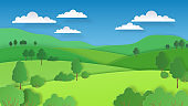 Paper cut landscape. Nature green hills fields mountains and forest, paper art rural scene. Vector ecology background