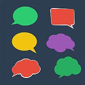 Paper Speech Bubble. Stickers of speech bubbles vector