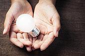 Hand on Glowing Light Bulb