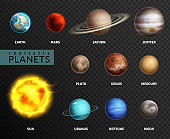 Realistic planets. Solar system planet space universe galaxy sun moon saturn mercury jupiter venus comet uranus pluto, vector isolated