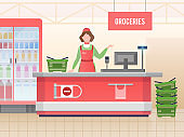 Supermarket store assistant. Happy cashier woman sales food in grocery hypermarket. Retail service, supermarket shopping vector image