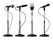Microphones on stands. Stage standing microphones, studio mic for singing with counters. Concert audio equipment vector set
