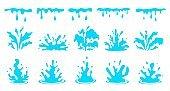 Cartoon water splashes. Blue flowing liquid, aqua stream with drops. Sea splashing motion isolated vector set