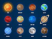 Solar system cartoon planets. Cosmos planet galaxy space orbit sun moon jupiter mars venus earth neptune mercury universe vector set