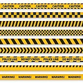 Police tape. Yellow taped barricade warning danger police stripes crime safety line attention border barrier, flat set