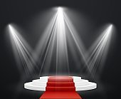 Stairs 3d with red carpet. Spotlight scene staircase podium for celebrity pedestal award stairway up to success