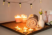 Beauty spa treatment with candles, Massage background