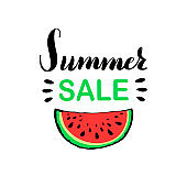 Banner template for summer sale with red juicy slice of tasty watermelon with seed.