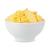 Corn flakes in a bowl isolated on white background