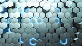 3D Abstract white geometric hexagonal background.