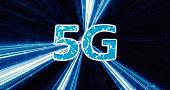 Creative glowing 5G backdrop. Mobile internet concept. 3D Rendering.  5G loop