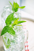 Cold fresh mint lemonade in a mason jar