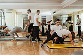 Fitness group exercising