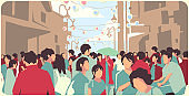 Illustration of crowded Asian street at Chinese New Year