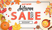 Autumn sale promo just now banner with discount.